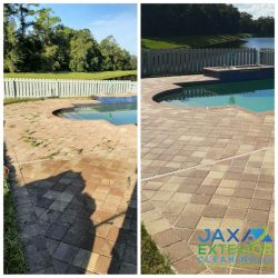 before and after of paving around a swimming pool